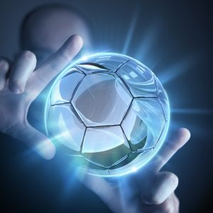 Glassy Ball Projection Soccer Concept. Glassy Ball Resized by Hands.